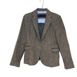 Zara women's houndstooth tweed wool blazer elbow L
